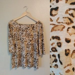 Michael Stars Leopard Print High Crew Tee One Size